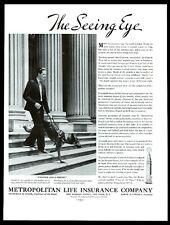1937 seeing-eye dog German Shepherd photo Metropolitan Life vintage print ad