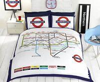 London Map Reversible Underground/Tube Duvet Cover/Quilt Cover Bedding Set New