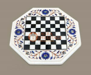 Marble Chess Board Playroom Table Top with Multi Color Stones Inlay Living Decor