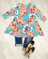 ladies Ann Harvey Blouse Top Hibiscus Floral Blue Mix Sz 14 3/4 Sleeve Casual