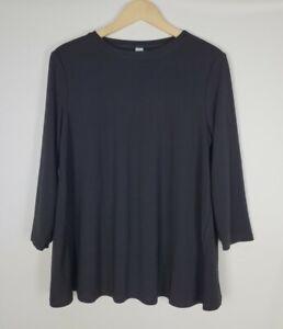 Marla Wynne Women's A-Line Black Stretch Swing 3/4 Sleeve Knit Top Size Medium