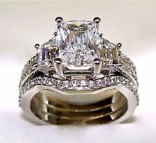 5 Ct Radiant Cut Engagement Ring W/ 2 Matching Wedding Bands 14K White Gold