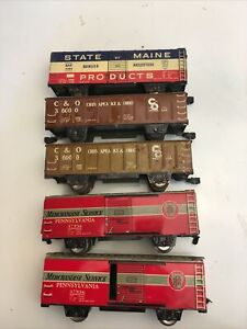 Lot of 5 Marx Train Cars 37956 Merchandising Service State of Maine C&O