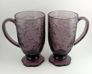 2 Princess House Amethyst Purple Fantasia Poinsettia Handled Mug Glasses