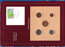 Coin Sets of All Nations Qatar w/card 1973 - 1987 UNC 25, 50 Dirhams 1987