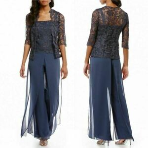 Mother Of The Bride/Groom Navy Dress Pants Suit Lace 3/4 Sleeves Jacket Size 4