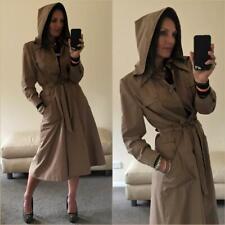 VINTAGE 70s VIRGO HOODED TRENCH COAT LADIES 10 Camel long belted jacket OVERCOAT