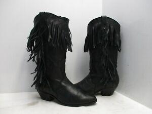 Dingo Black Leather Fringe Cowboy Boots Womens Size 7 M Style 8242