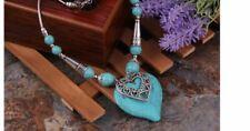 Turquoise Heart Pendant & Silver Colour Necklace & Bracelet Set