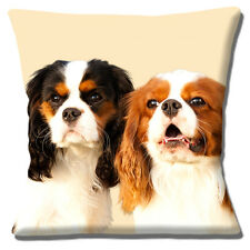 King Charles Spaniel Dogs Cushion Cover 16 inch 40cm Tricolour & Tan White dogs