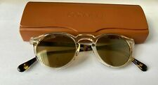 Oliver Peoples Gregory Peck Sunglasses Yellow Lens, Crystal & Tortoise Frame