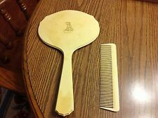 Celluloid Vanity Mirror and Comb Set Py-Ra-Lin Vintage