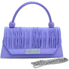 New Women Handbag Pleated Rhinestone Evening Clutch Crossbody Bag Purse Purple