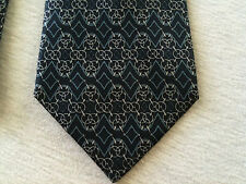 Hermes Silk Neck Tie France Blue / White Diamond Pattern Beautiful Rare