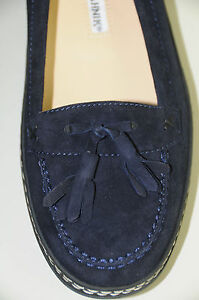 NEW MANOLO BLAHNIK Flats FORD Suede Driving Loafers Navy Blue SHOES 4 5 35