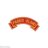 MARINE CORPS PARRIS ISLAND  MILITARY EMBROIDERED USMC RED SHOULDER ROCKER PATCH
