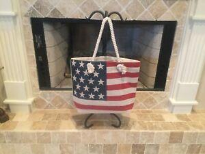 🇺🇸USA Flag Print Rope Handle Red White Blue Beach Bag Tote