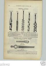 1910 PAPER AD Mine Mining Earth Augers Chisel Pod Ribbon Twist Spiral Drills