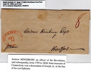 New Haven CT Stampless Folded Letter 1804 Red Oval to Hartford CT