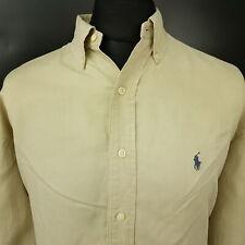 Polo Ralph Lauren Mens Vintage SILK LINEN Shirt 2XL Long Sleeve Beige BLAKE