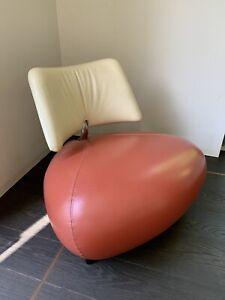 Leolux Pallone Leder Sessel Orange Weiß
