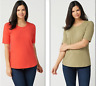 Denim & Co. Essentials Set of Two Elbow Sleeve Knit Tops - Red/Olive - Large