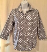 Talbots size 8 petite top blue white button front wrinkle resistant 3/4 sleeve