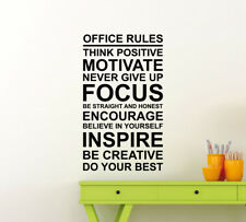 Office Rules Wall Decal Teamwork Gift Vinyl Sticker Decor Work Quote Poster 50me