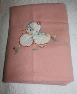Vintage Onkaparinga Woollen baby blanket, pink, duck motif