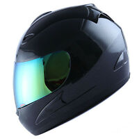 New DOT WOW Motorcycle Full Face Helmet Street Bike Carbon Fiber Black S M L XL