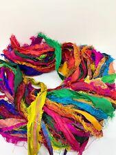 Sari silk ribbon, multicoloured, eyelash silk recycled ribbon. 10 yard mini