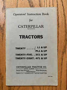 CAT Caterpillar TWENTY FIVE EIGHT TRACTOR Operator's Instruction Book Manual