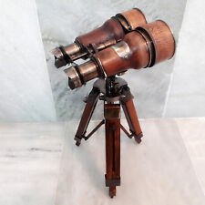Binoculars with wooden Tripod Leather Covered Maritime