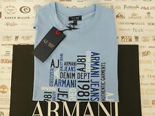 Armani Jeans L/T-shirt bleu homme H14 Multi Logo Neuf Taille XXL Tee BNWT RRP £ 80