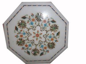 """18 """" Seite / Ende Pietra Dura Marmor Table Top Blumen Inlay Handgemacht Arbeit"""