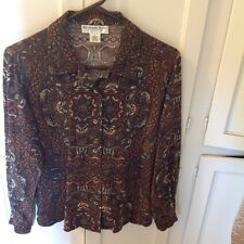 Silk  long sleeve blouse by Katherine Kelly in brown print size 8