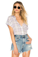 $76 NWOT SANCTUARY WOMENS PURPLE PLAID SHORT SLEEVE BOYFRIEND SHIRT SIZE 1X