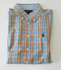 Ralph Lauren Boys Plaid Poplin Short Sleeve Shirt Orange Mult Sz XL (18-20)-NWT