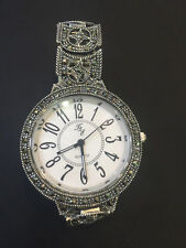 Vintage Solid 925 Sterling Silver Unisex Sparkling Dubai Wrist Watch - 8 Inch