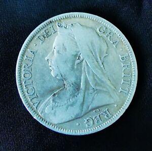 1899 Half Crown Queen Victoria .925 Sterling silver coin