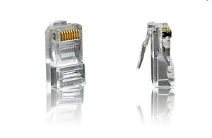 RJ45 CAT5E Modular Plug Gold Plated Network Connector (100 Pcs)