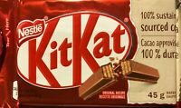NESTLE KIT KAT MILK CHOCOLATE FULL SIZE BARS MADE IN CANADA - 4x 45g