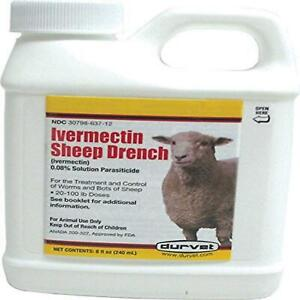 Sheep Parasiticide Durvet Treatment Control Worms Bots Drench 8 oz. Ivermectin