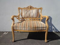 Bench Settee Loveseat French Provincial Boudoir Vanity Bed Vintage Entry Way