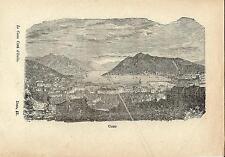 Stampa antica COMO veduta panoramica da Villa Olmo Lago di Como 1871 Old print