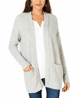Style & Co. Women's XSmall Ribbed Trim Open Front Cardigan Sweater Gray NEW #45