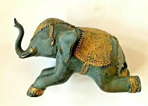ANTIQUE ASIAN BRONZE ELEPHANT STATUE