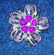 PURPLE FLOWER BROACH DIAMANTE WEDDING BRIDAL | HIJAB PIN