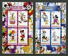 Rwanda Disney Characters Imperforate Set Of Two Sheets Of Four Mint Never Hinged
