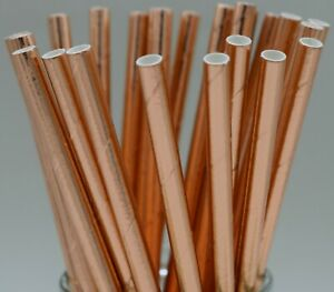 Paper straws party birthday wedding rainbow gold rose gold pink UK quantity 25